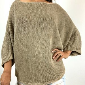 Zara Knit Sweater Medium Brown Tan Oversize